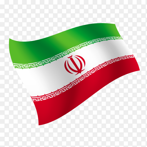Iran flag waving vector on transparent background PNG