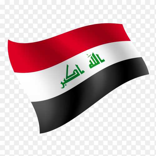 Iraq flag waving vector on transparent background PNG