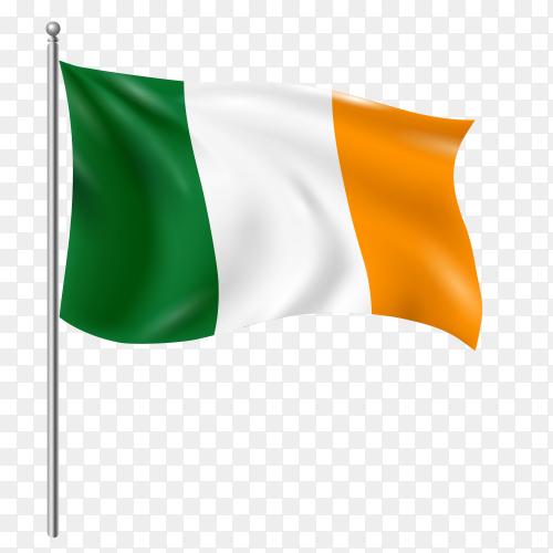 Ireland flag waving vector on transparent background PNG