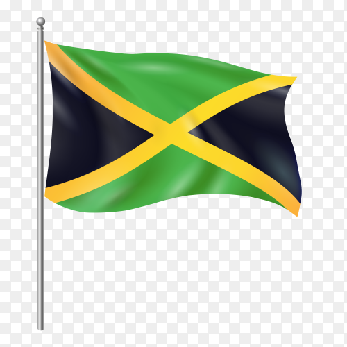 Jamaica flag waving vector on transparent background PNG