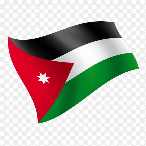 Jordan flag waving vector on transparent background PNG