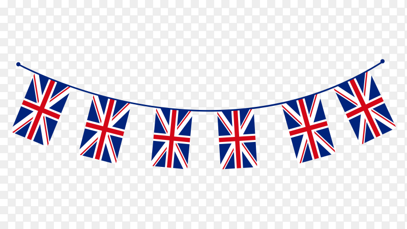 Jubilee bunting with flag of united kingdom on transparent background PNG