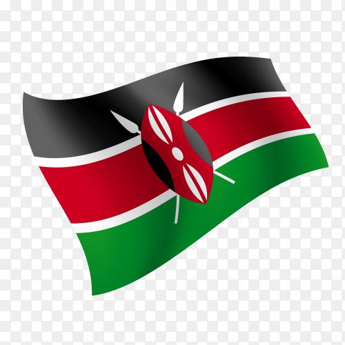 Kenya flag waving vector on transparent background PNG