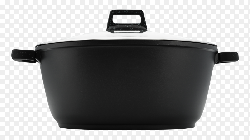 Kitchenware saucepan black metal glass lid – image free PNG
