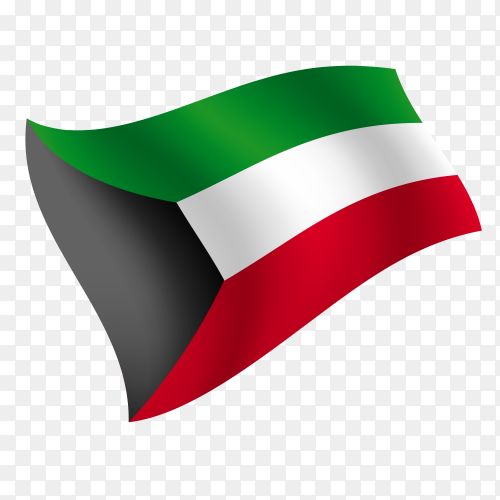 Kuwait flag waving vector on transparent background PNG