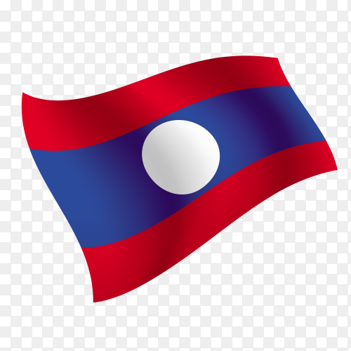 Laos flag waving vector on transparent background PNG