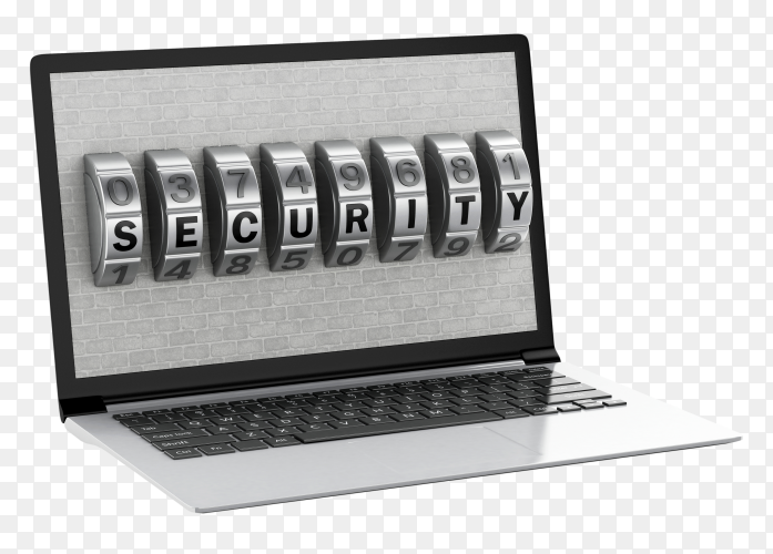 Laptop with brick wall and combination lock on transparent background PNG