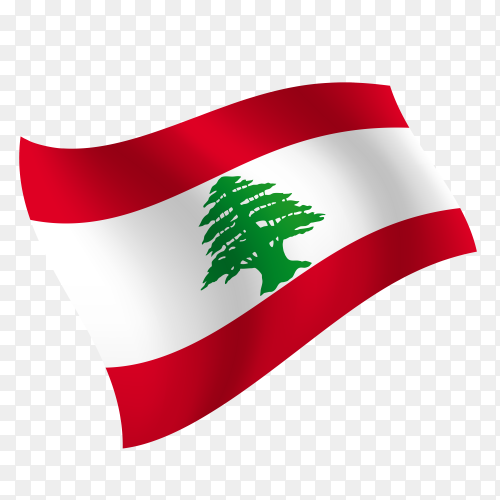 Lebanon flag waving vector on transparent background PNG