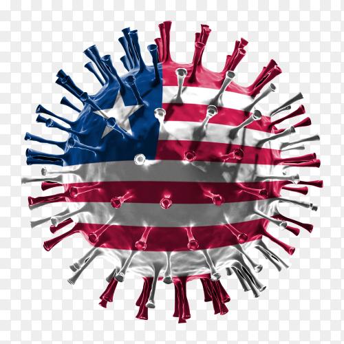 Liberia flag Shaped covid-19 virus transparent PNG