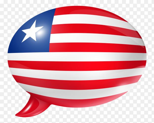 Liberian flag – Liberia flag shaped speech bubble transparent PNG