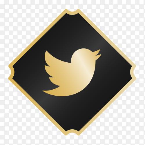Logo Twitter with golden details transparent PNG