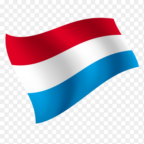 Luxembourg flag waving vector on transparent background PNG