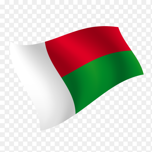 Madagascar flag waving vector on transparent background PNG