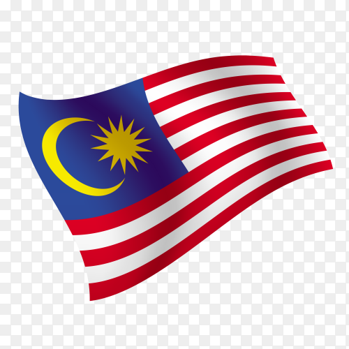 Malaysia flag waving vector on transparent background PNG