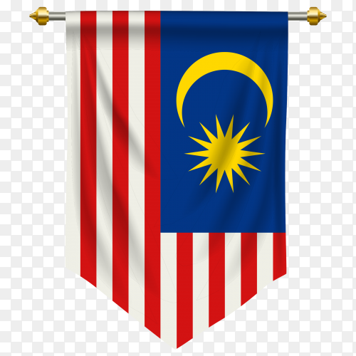Malaysia pennant flag vector PNG