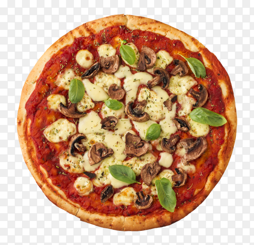 Margherita pizza with tomato, sauce, cheese, mushroom – transparent PNG