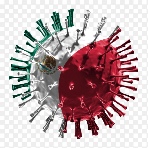 Mexico flag Shaped covid-19 virus transparent PNG