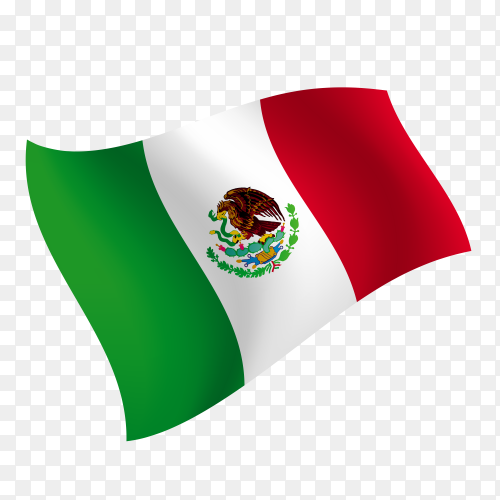 Mexico flag waving vector on transparent background PNG