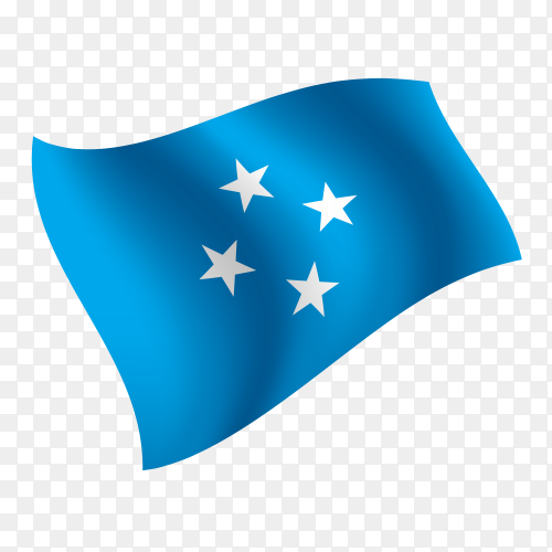 Micronesia flag waving vector on transparent background PNG
