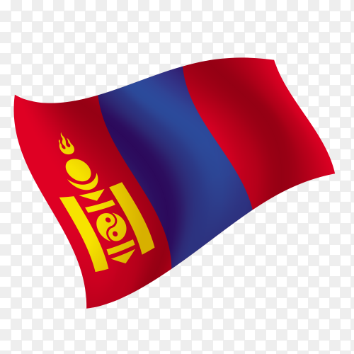 Mongolia flag waving vector on transparent background PNG