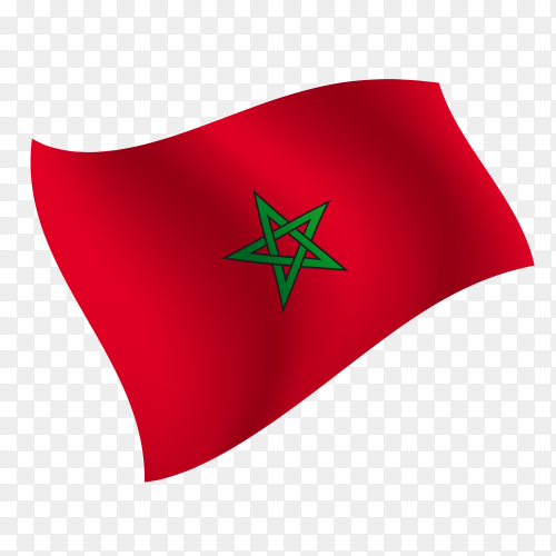 Morocco flag waving vector on transparent background PNG