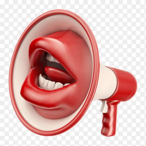 Mouth shaped loudspeaker premium image PNG