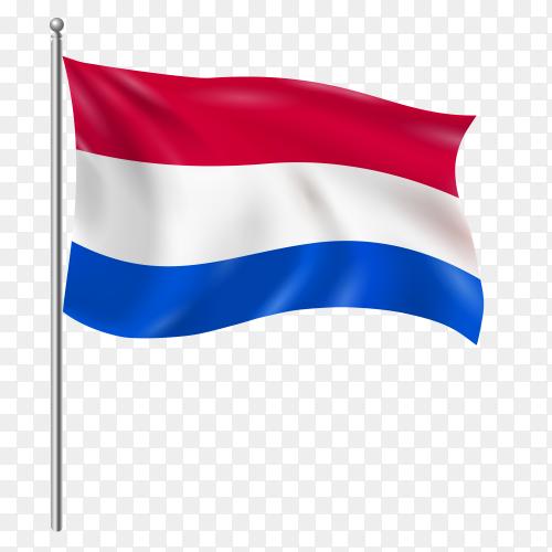 Netherlands flag waving vector on transparent background PNG