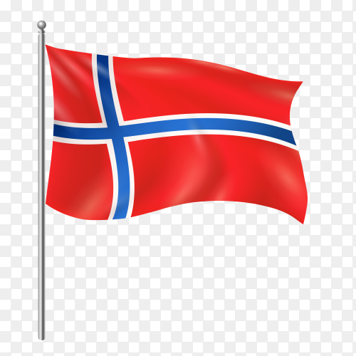 Norway flag waving vector on transparent background PNG