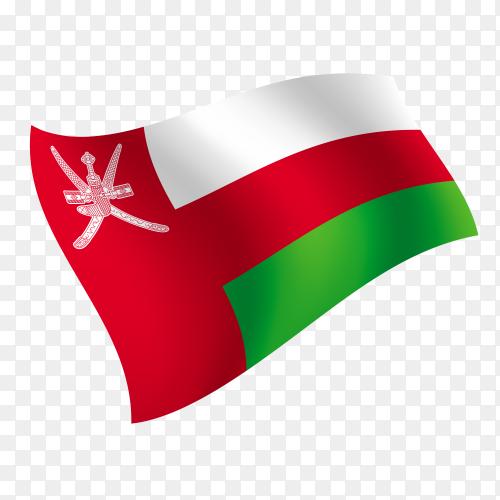 Oman flag waving vector on transparent background PNG