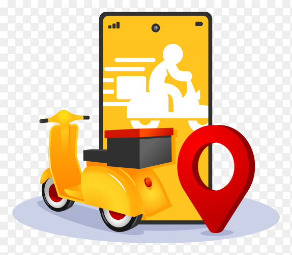 Online delivery service mobile app vector illustration PNG