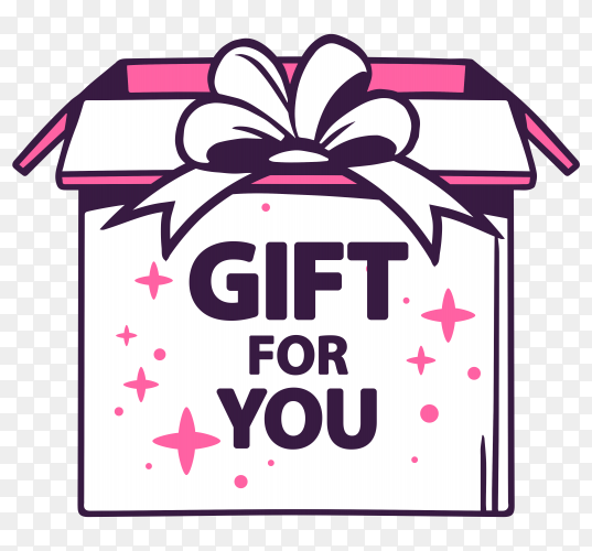 Open box with title gift for you vector PNG