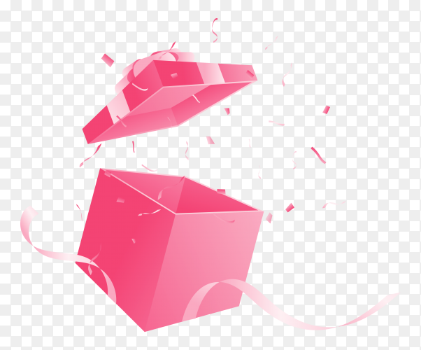 Open gift box pink transparent PNG