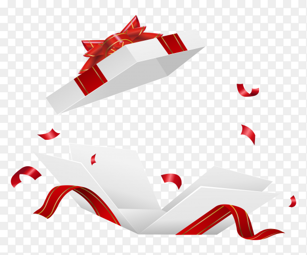 Open white gift box with red ribbon royalty free PNG