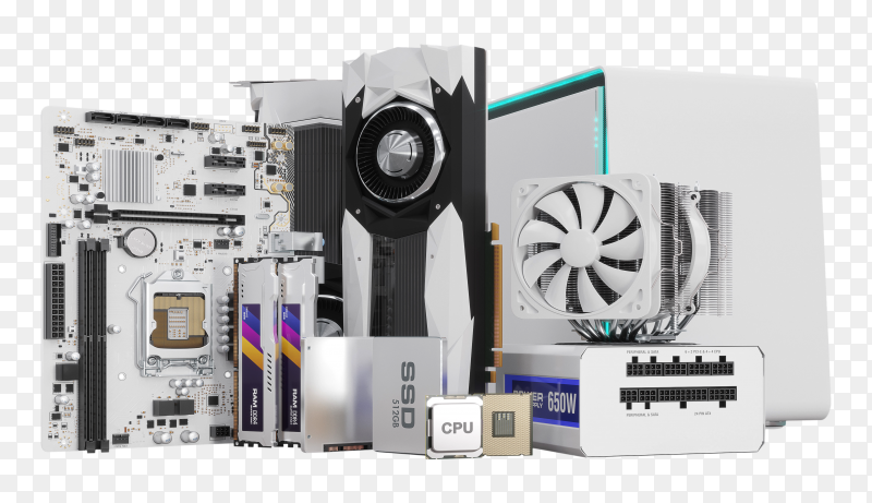 PC hardware components on transparent background PNG