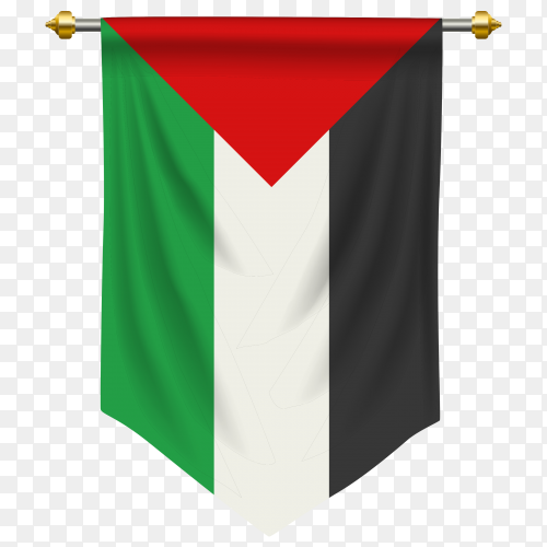Palestine pennant flag vector PNG