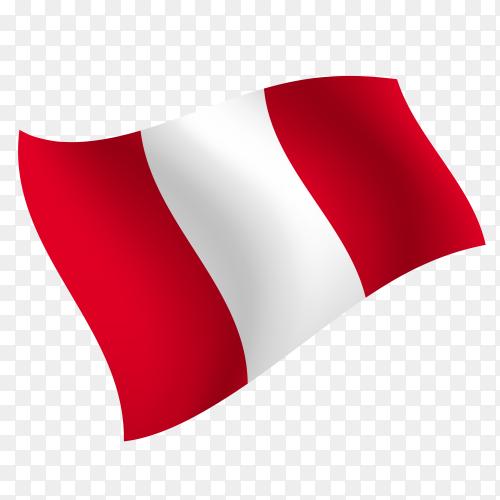 Peru flag waving vector on transparent background PNG