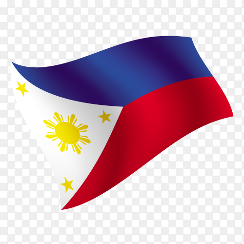 Philippines flag waving vector on transparent background PNG