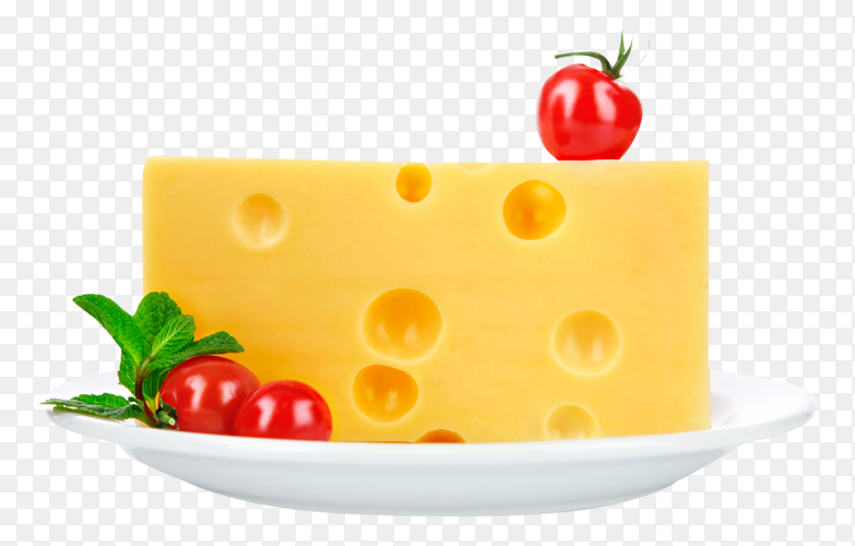 Piece Swiss cheese in the dish on transparent background PNG
