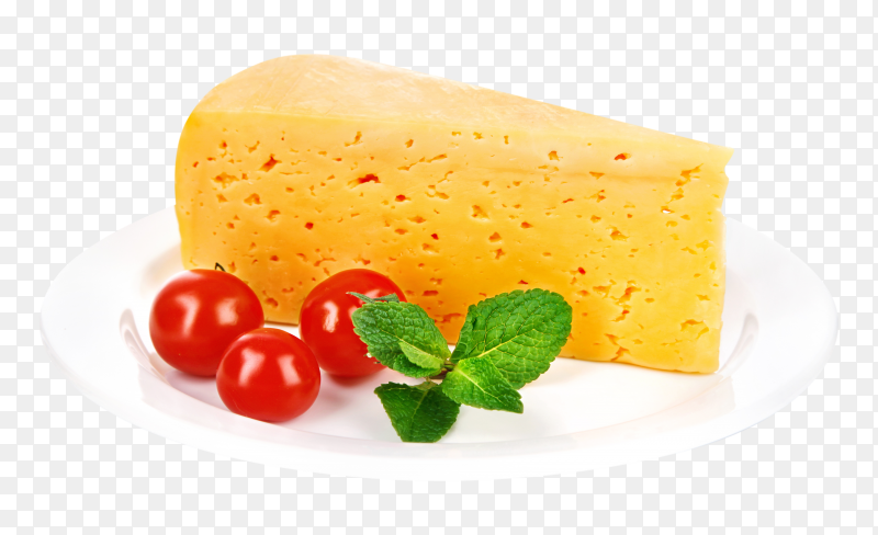 Piece cheese premium on transparent background PNG