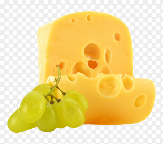Piece of cheese with grapes on transparent background PNG