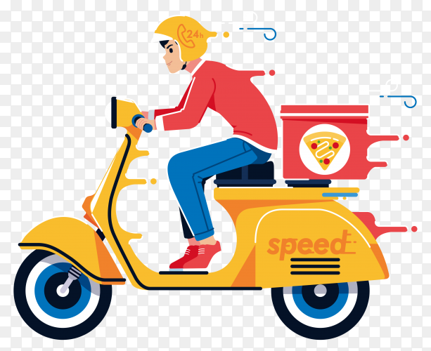 Pizza delivery illustration transparent PNG