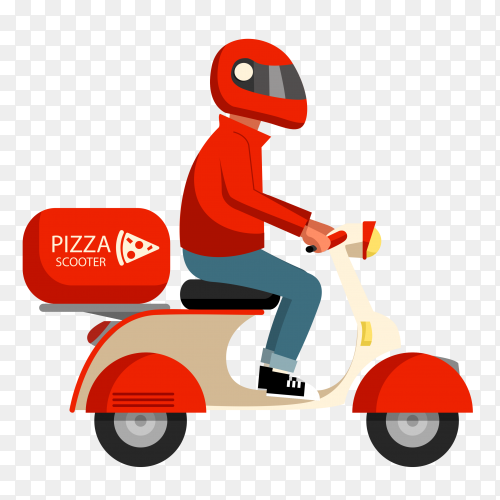 Pizza delivery man with scooter and helmet royalty free PNG
