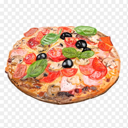 Pizza watercolor style transparent PNG