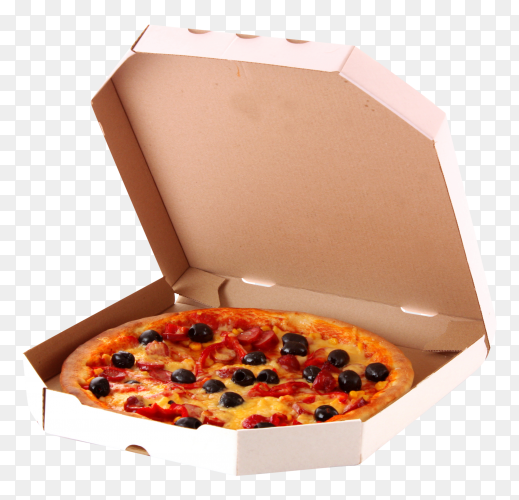 Pizza with olives in box – transparent PNG