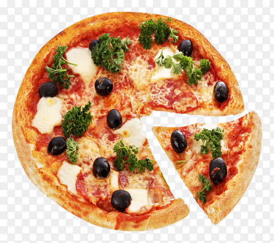 Pizza with olives premium image PNG