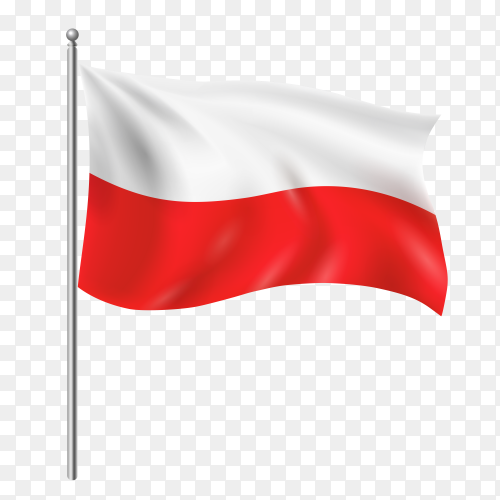 Poland flag waving vector on transparent background PNG