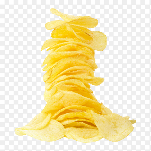 Potato chips on transparent background PNG