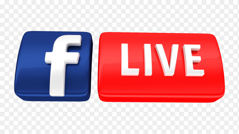 Premium Facebook live icon 3d royalty free PNG