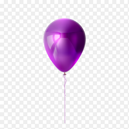 Purple balloon on transparent background PNG