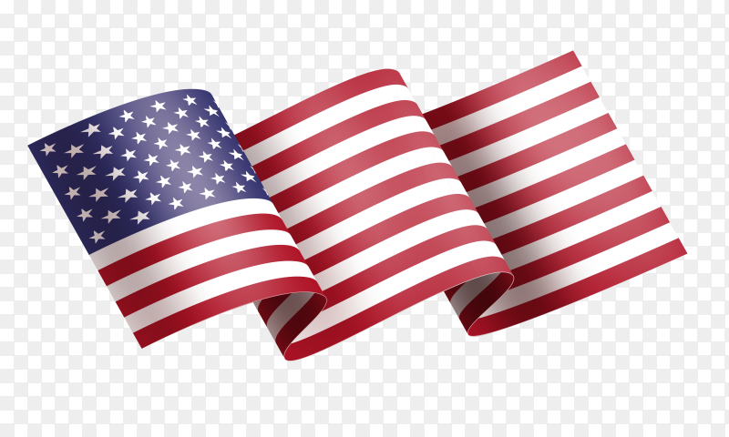 Realistic american flag waving illustration vector PNG
